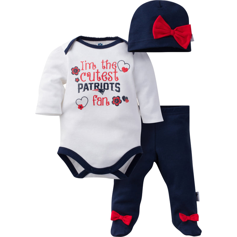 Patriots Baby Girl 3pc Outfit