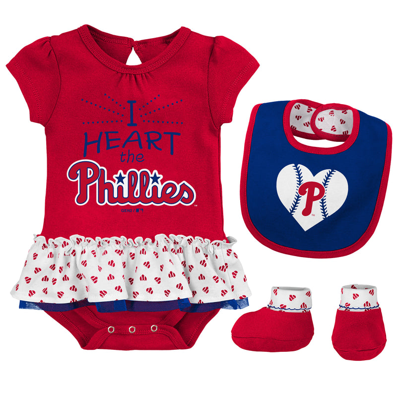 Baby Girl I Heart The Phillies Skirted Bodysuit Set