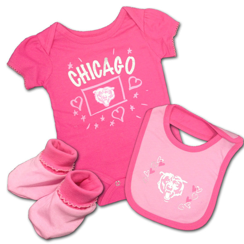 Baby Bears Pink Creeper, Bib & Bootie Set