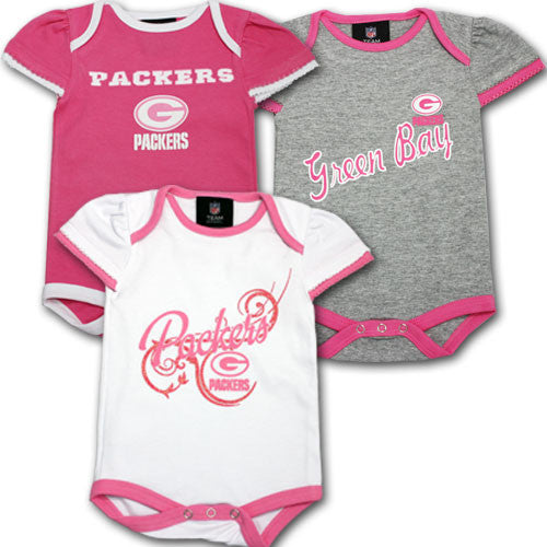 Packers Three Pack Pink Body Suit Set (6-9M Only)