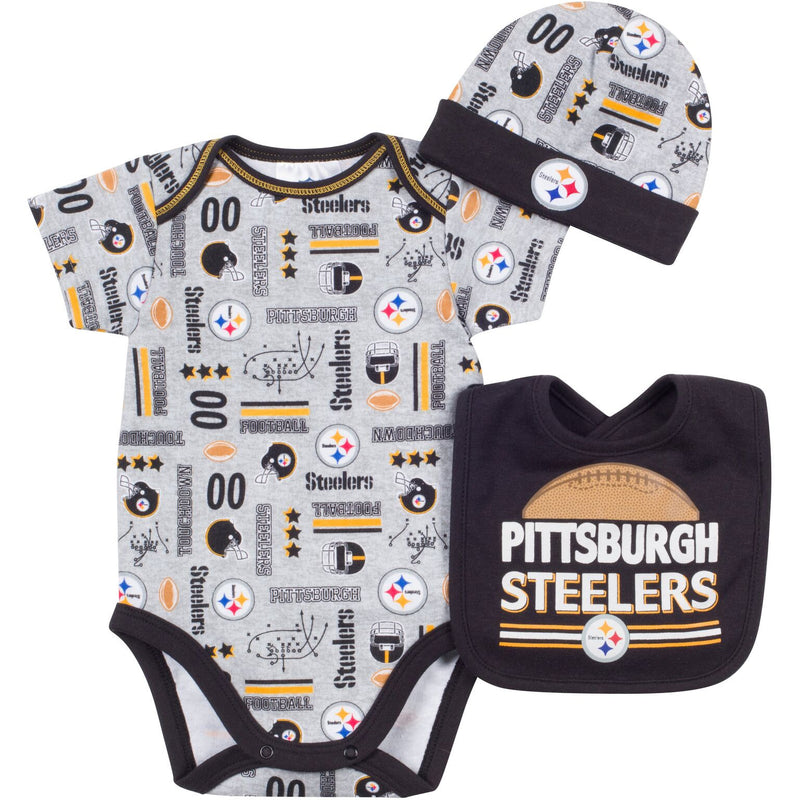 Baby Steelers Fan Onesie, Cap and Bib