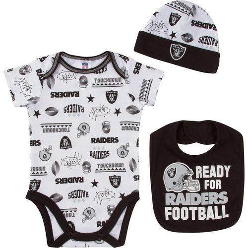 Raiders Baby Boy Bodysuit, Cap and Bib Set