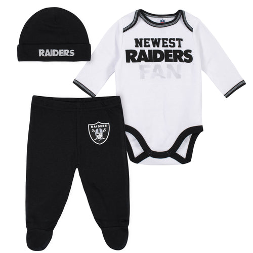 Newest Raiders Fan Baby Boy Bodysuit, Footed Pant & Cap Set