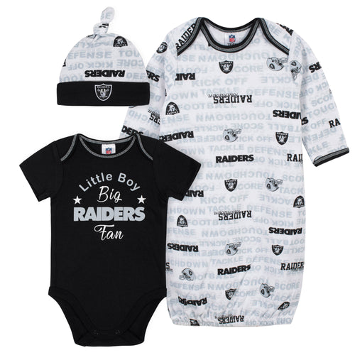 Raiders Baby Boy Bodysuit, Gown & Cap Set