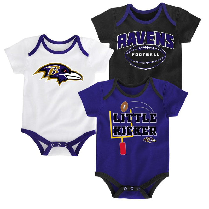 Ravens Little Kicker Onesie 3-Pack