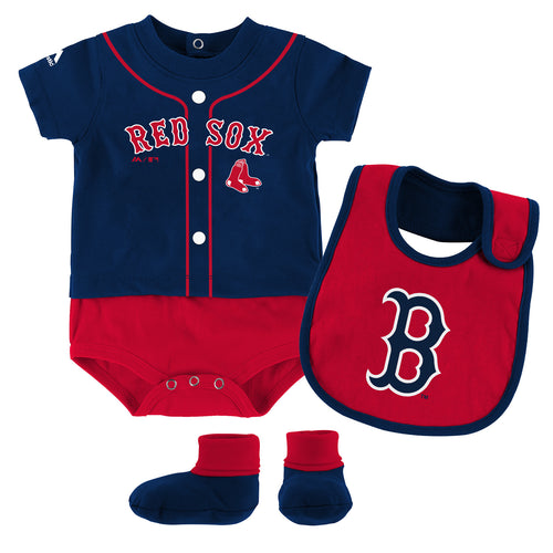 Mlb baby clothing boston red sox babyfans babyfans red sox baby ball player creeper bib and bootie set negle Choice Image
