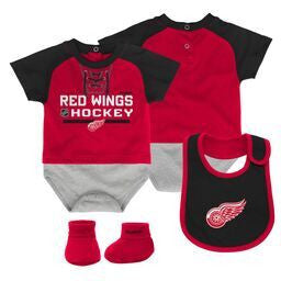 Red Wings Baby Onesie, Bib and Bootie Set