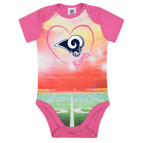 Rams Infant Girl Pink Field Bodysuit