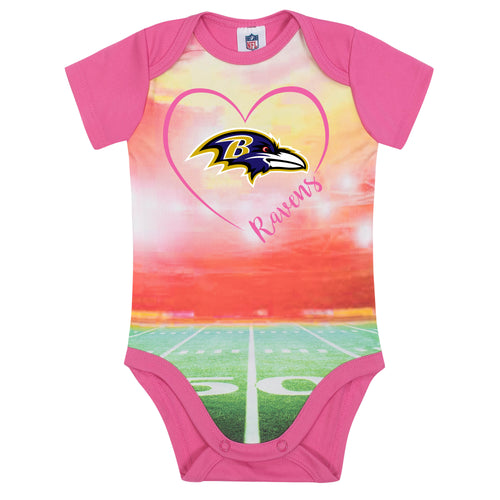 Ravens Infant Girl Pink Field Bodysuit