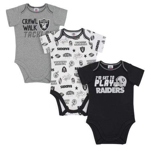 Raiders All Set To Play 3 Pack Short Sleeved Onesies