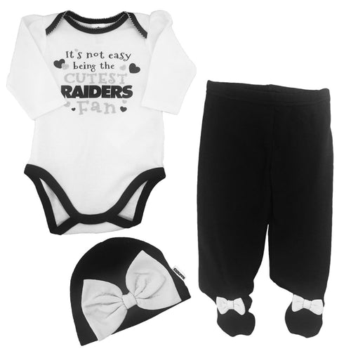 Raiders Baby Girl Onesie, Footed Pant & Cap Set