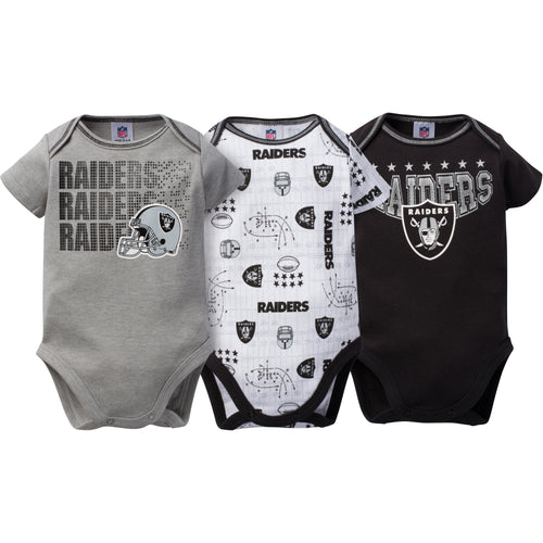 Raiders Baby 3 Pack Short Sleeve Onesies