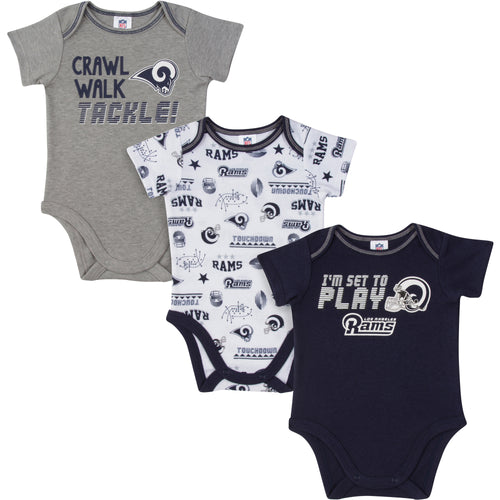 Rams All Set To Play 3 Pack Short Sleeved Onesies Bodysuits