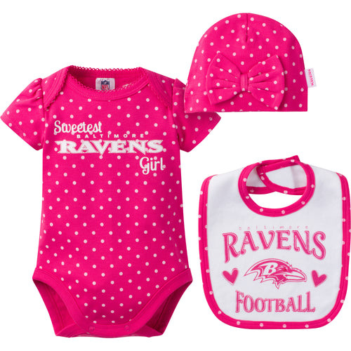 Infant Ravens Girl Onesie, Bib and Cap