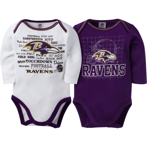Ravens Infant Long Sleeve Logo Onesies-2 Pack