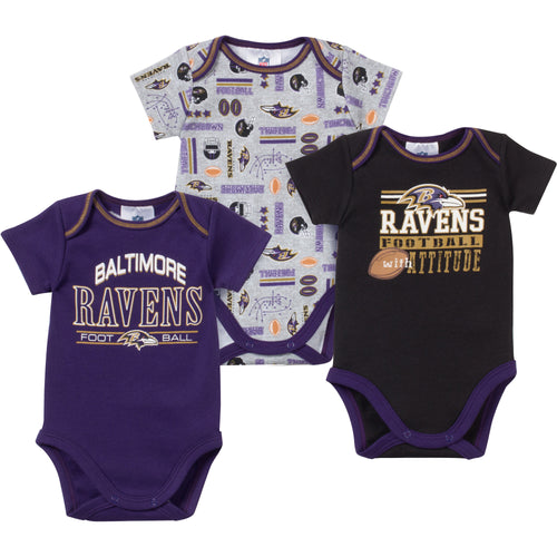 Baby Ravens Fan Onesie 3 Pack