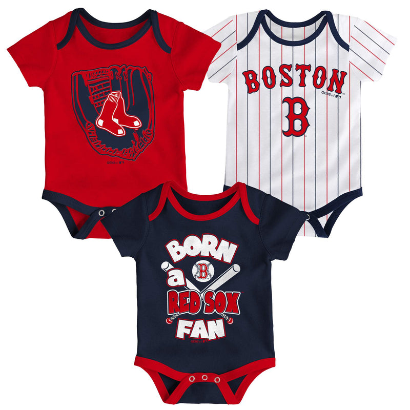 Red Sox Baseball Fan 3 Pack Bodysuit Set