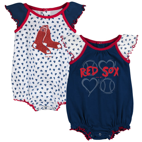 Red Sox Baby Girl Hearts Duo Bodysuit Set
