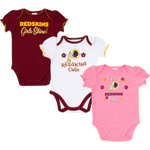 Redskins Girls Shine 3 Pack Short Sleeved Onesies