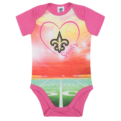 Saints Infant Girl Pink Field Bodysuit