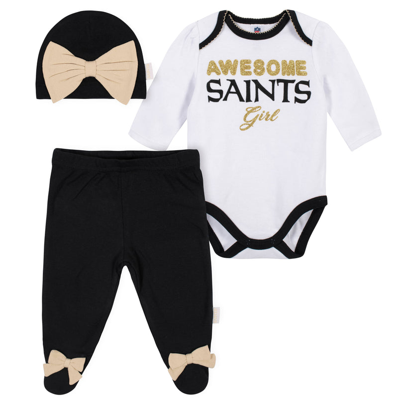 Awesome Saints Baby Girl Bodysuit, Footed Pant & Cap Set