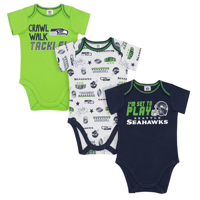 Seahawks Baby Boys 3-Pack Short Sleeve Bodysuit