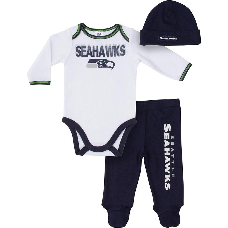 Seahawks Baby Boy Bodysuit, Footed Pant and Cap Set