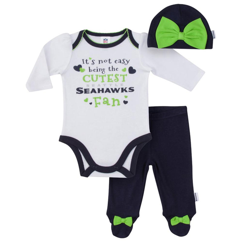 Seahawks Baby Girls Bodysuit, Pant and Cap Set
