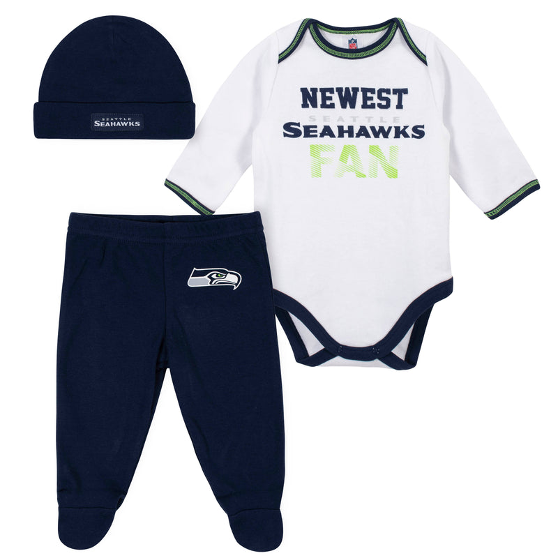 Newest Seahawks Baby Boy Bodysuit, Footed Pant & Cap Set