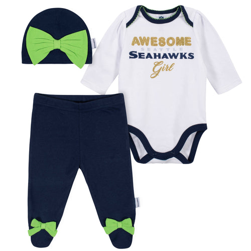 Awesome Seahawks Baby Girl Bodysuit, Footed Pant & Cap Set
