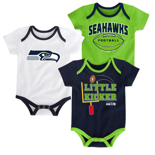 Seahawks Little Kicker Onesie 3-Pack