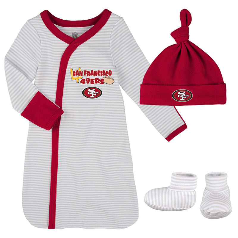 49ers Newborn Gown, Cap, and Booties