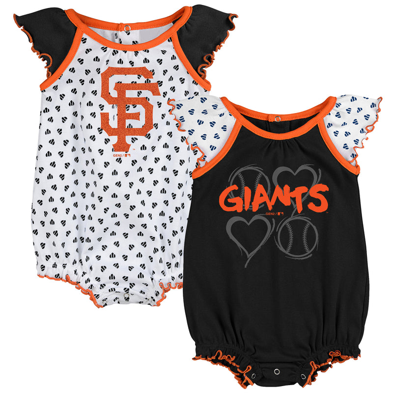 SF Giants Baby Girl Hearts Duo Bodysuit Set