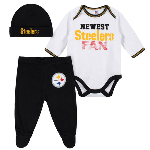 Newest Steelers Fan Baby Boy Bodysuit, Footed Pant & Cap Set