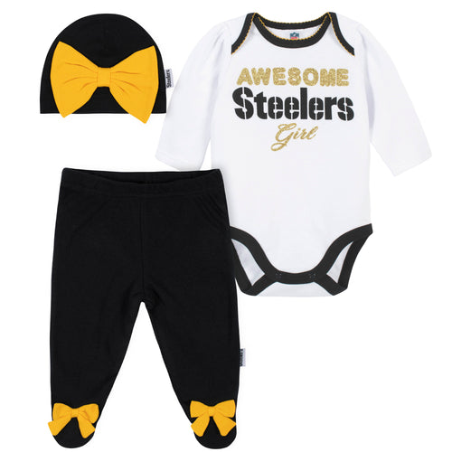 Awesome Steelers Baby Girl Bodysuit, Footed Pant & Cap Set
