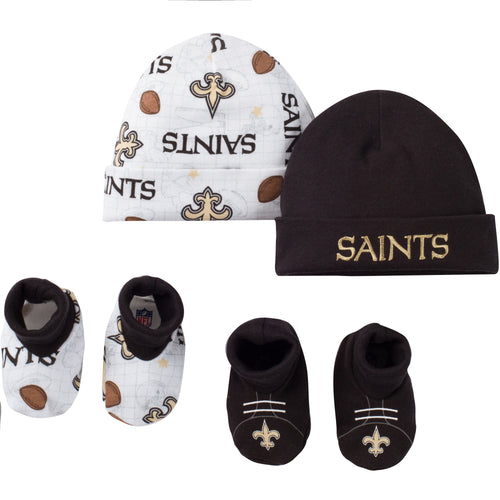 Saints 4pc Baby Knit Hats and Booties
