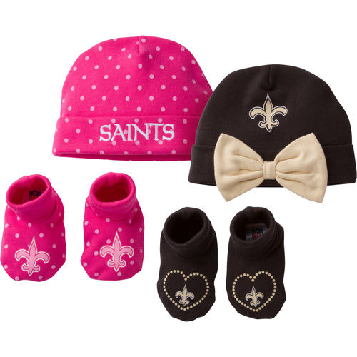 Saints Sweetheart Caps and Booties Set