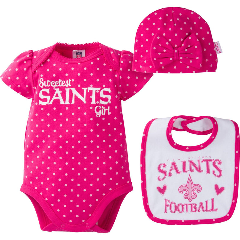 Infant Saints Girl Onesie, Bib and Cap