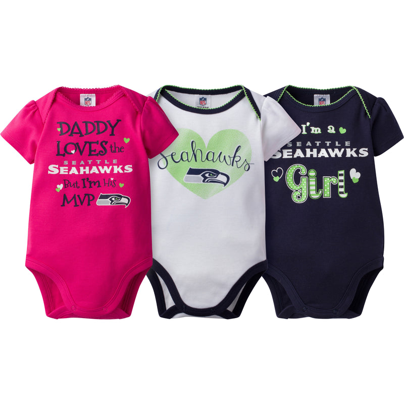 Seahawks Girls 3 Pack Short Sleeved Onesies