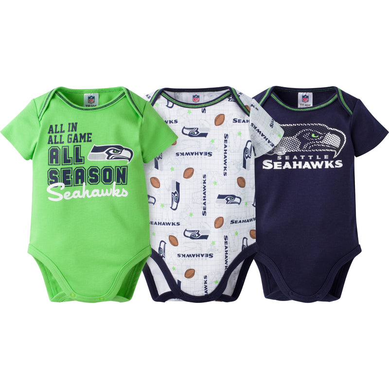 Seahawks Infant 3-Pack Logo Onesies