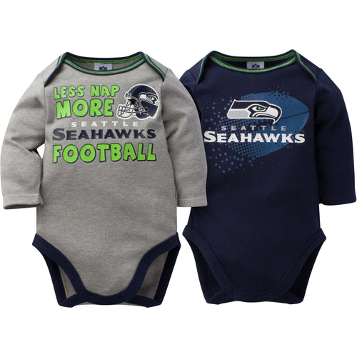 Baby Seahawks Long Sleeve Onesie Two Pack