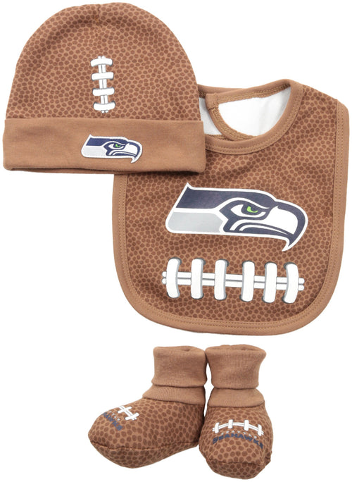 Seahawks Football Cap, Booties and Bib Set