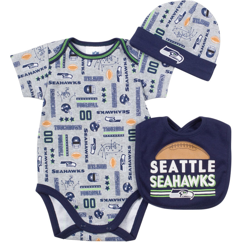 Baby Seahawks Fan Onesie, Cap and Bib