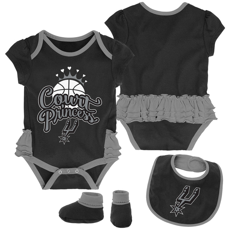 Spurs Court Princess Creeper, Bib and Booties Set