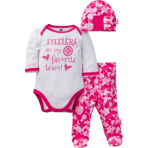 Steelers Baby Girl 3 Piece Outfit