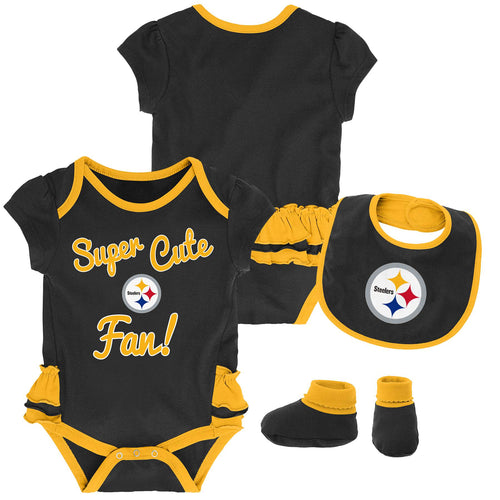 Steelers Girl Bodysuit, Bib and Booties Set