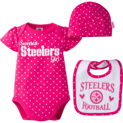 Infant Steelers Girl Onesie, Bib and Cap