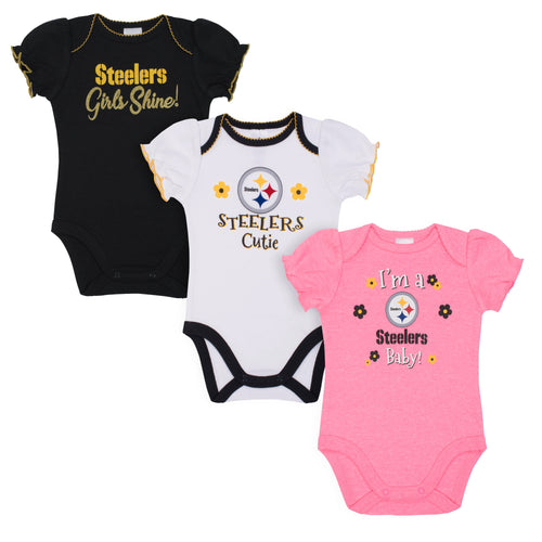 Steelers Girls Shine 3 Pack Short Sleeved Onesies