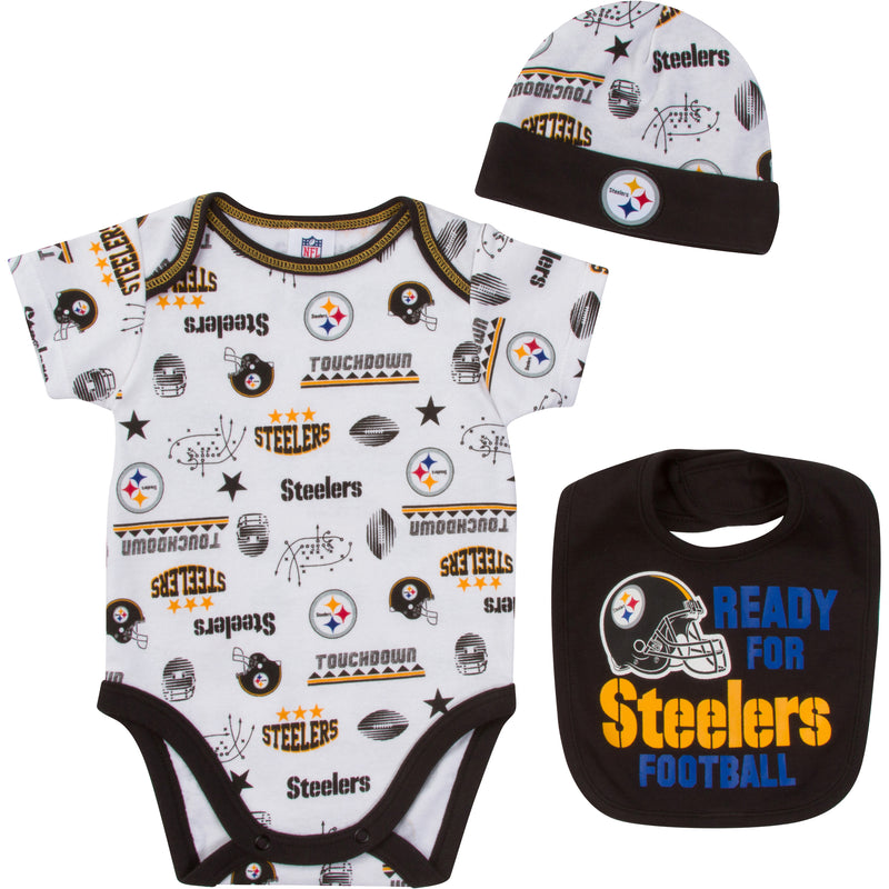 440caeed4 Steelers Baby Boy Onesies Bodysuit Bib   Cap Set – babyfans