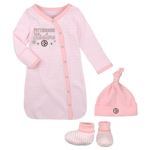 Steelers Pink Newborn Gown, Cap, and Booties
